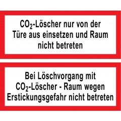 Hinweisschild CO2-Löscher & Löschvorgang