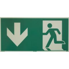 Rettungsweg-Notausgang PFEIL UNTEN